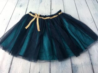 Mini Boden navy blue voile skirt with turquoise lining and gold bow and waistband age 6-7